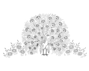 Peacock Embroidery designs for Towels Cloths Scarfs Quilts Pillows Clothing in PDF format Instant Download