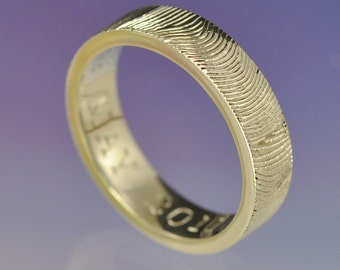 Personalised Fingerprint Ring. Custom wedding ring. Your print hand engraved on a 5mm wide 9k gold ring.