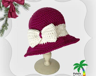 Crochet Pattern for brimmed hat, cloche Holiday Joy in  Child to Adult sizes PDF 14-132