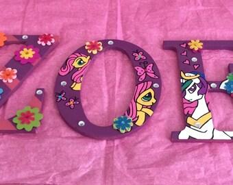 Girl Monogram Letters,My Little Pony Monogram Letters, Girls Wall Decor,Cute Monogram Letters, Wood Letters, Girls Room Decor