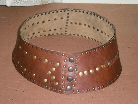Genuine leather Belt, Eyeleted Wide Belt, Handmade Belt, made to order wide Belt