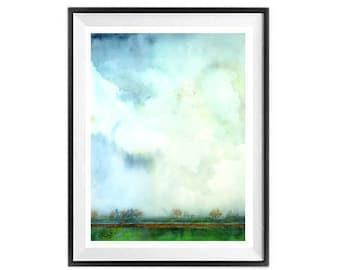 Skyscape, Art Print, Big sky, Artwork, Watercolor painting, Clouds, Atmosphere painting, Blue sky, Horizon, Cloudy, Spring, Morning, Sale