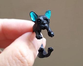 French Bulldog ring, Custom Colored Animal Wrap ring, Dog Ring, Puppy Ring, Birthday Gift , Bulldog ring
