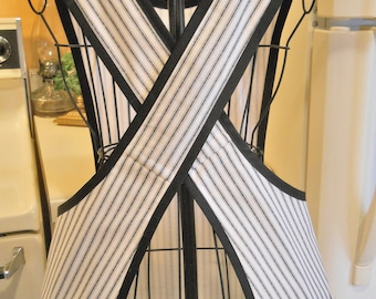 Old Fashioned Crossover Apron in Black and Ecru Ticking