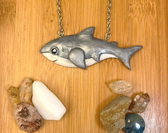 Swimming Shark, Polymer Clay Necklace, Stainless Steel Chain
