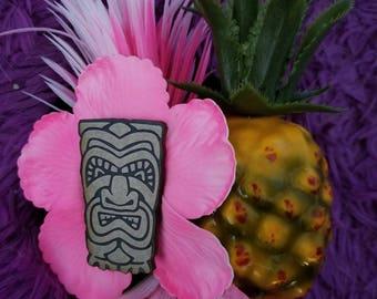 Tiki, Tiki hat, Pineapple, Pineapple hat, Pineapple fascinator, Pink hibiscus, MsFormaldehyde