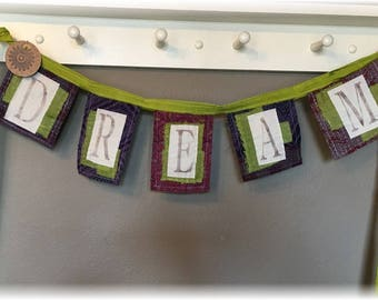 Whimsical Kantha Prayer Flag / Banner  DREAM