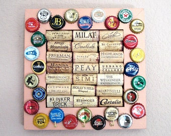 Beer Cap & Wine Cork Board Key Hanger - Peach - for the wine geek and beer lover in your life