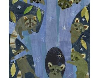A Gaze of Raccoons - 11x14 Archival Print - art poster - wall decor - children's wall art - nursery poster