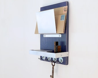 SMALL MAIL ORGANIZER: for Small Spaces, Wall Mount Organizer with Key Hooks and Shelf, Modern Office Home Entry Organization