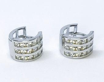 Small round 14K sterling silver hoop earrings