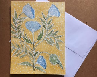 Watercolor,Blue Flowers,Yellow Polka Dots,Note Card