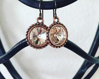 Light Silk Swarovski Crystal Rivoli Drop Earrings, Swarovski Earrings, Sparkle Earrings, Weddings, Classic Jewelry, Crystal