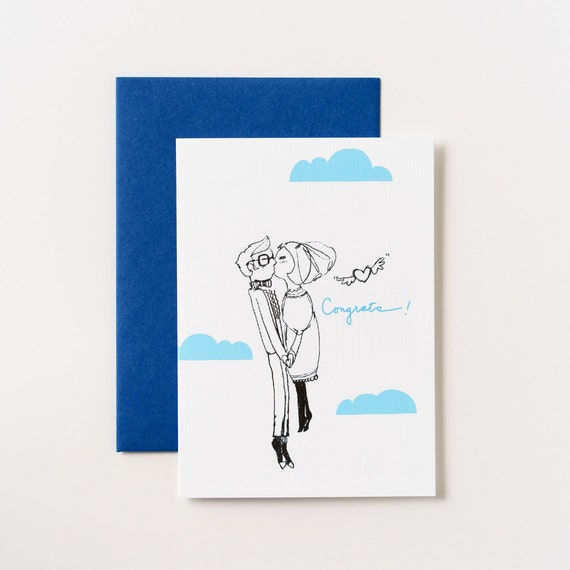 Cloud Couple Congratulations Greeting Card