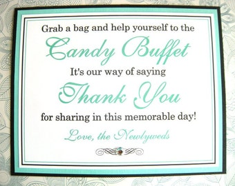 SALE Grab a Bag and Help Yourself 8x10 Flat Printed Wedding Reception Candy Buffet Sign in Black and Pool Blue - Candy Bar - Ready to Ship