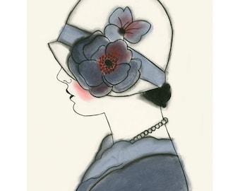 Art Deco artwork - art print . Art Deco Millie in Blue 4 X 6 print - 4 for 3 SALE