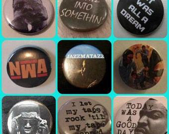 25mm Hip Hop Pin Button Badge Nwa Biggie Smalls Notorious B.I.G big Straight Outta Compton Epmd Eazy E Dr Dre Ice Cube Ruthless Jazzmatazz