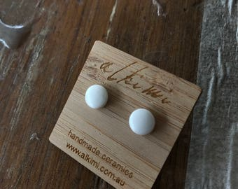 FREE SHIPPING Gloss Porcelain Stud Earrings - White - Ceramic Surgical Steel Studs - White Small Earrings