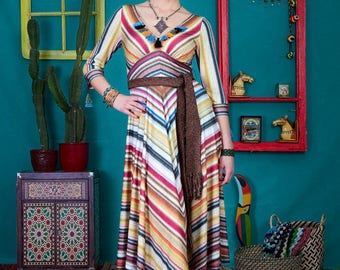 Gabriela - unique handmade designer dress by NYMF, colourful printed jersey dress with stripes, boho chic hippy style