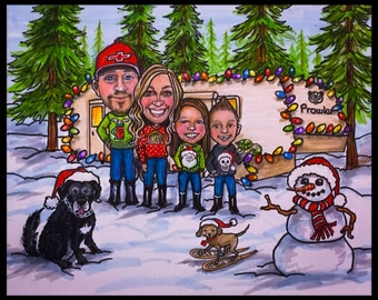 Custom CHRISTMAS card, custom Christmas card, family caricature, family portrait, portrait caricature,
