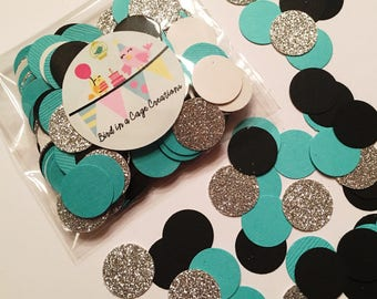Black, Teal and Silver Glitter Confetti | Bridal Shower Decor | Party Decor | Table Decor