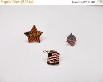 On Sale Vintage Enameled American Flag Patriotic Pin Collection Item K # 1700
