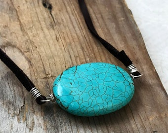 Turquoise Oval Necklace - Leather Statement Jewelry Summer Beachy Upcycled Sterling Silver Boho Indie Bohemian Gifts Under 40