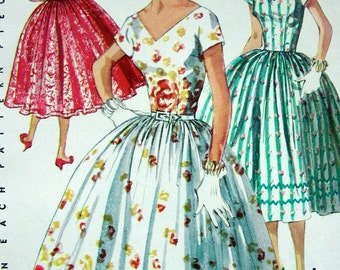 """50s Simplicity Dress Pattern 1156 - """"Simple to Make"""" Party Dress -  UNCUT"""
