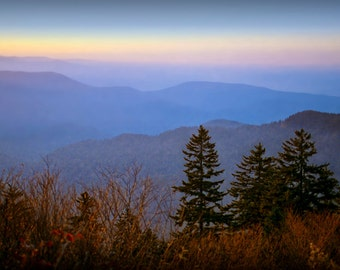Smoky Mountain Sunrise Panorama in Fall at Clingman's Dome in Smoky Mountain National Park in Tennessee No. 0004FS Landscape Photography