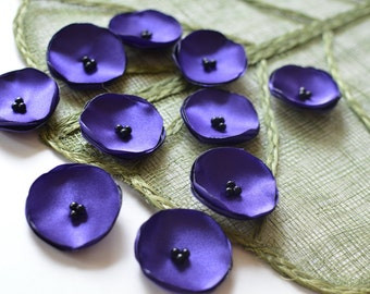 Satin fabric sew on mini flowers, floral embellisments, flowers for crafts, silk flowers, tiny appliques (10pcs)- AMETHYST PURPLE POPPIES