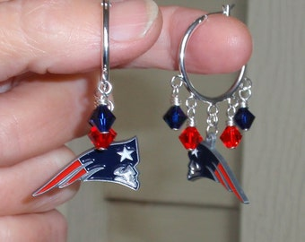 New England Patriots Earrings, NE Patriots Bling, Red and Navy Crystal Hoop Earrings, Football Patriots Accessory Jewelry