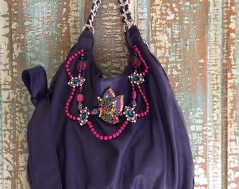 Hand Made Purple Shoulder Bag With Beading and Crystal Butterfly