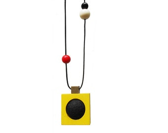 Modern Necklace GAMMA Geometric Necklace /// Statement Modern Cool Colorful Minimal Sculptural Kinetic Unique Wood Necklace by MüArtStudio