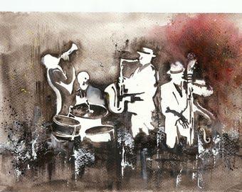 Watercolour original watercolor on paper montval jazz themed