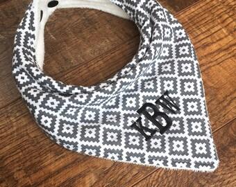 Monogrammed Bandana bib-Gender Neutral Bandana Bib-aztec baby neutral gray Drool Bib southwestern bandana bib-Cotton bandana bib