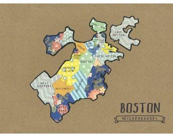 Boston Neighborhoods Map -  cut paper print