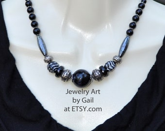 Chunky Black and Silver Necklace and Earring Set