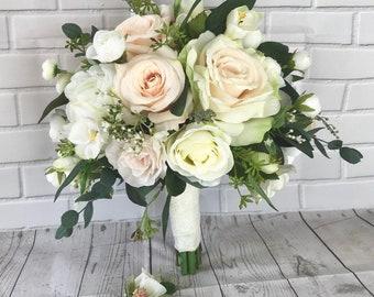 Blush Wedding bouquet, Bridal bouquet,Blush wedding flowers,Boho bouquet,Bridal flowers,Eucalyptus bouquet,Wedding accessory,Silk bouquet