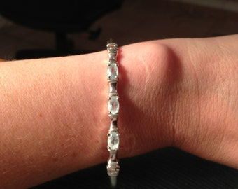 Dainty Sterling Silver and Blue Topaz Bracelet