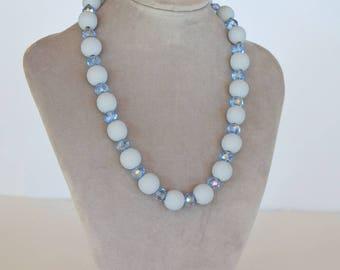 Necklace in grey and Blue Crystal and wood beads.