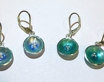 Pools of water earrings greens and blues