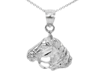 14k White Gold Horse Necklace