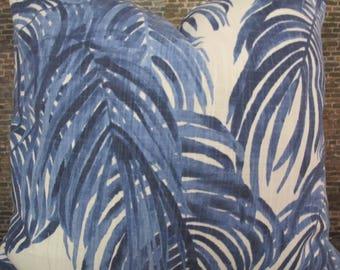 Designer Pillow Cover - Lumbar, 16 x 16, 18 x 18, 20 x 20, 22 x 22, Euro - LF Palm VW -  Blue