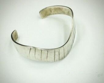 Vintage estate sale find handmade silver wave cuff bracelet.