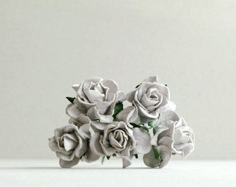 25mm Silver Grey Paper Roses - 5 mulberry paper flower with wire stems [172-t]
