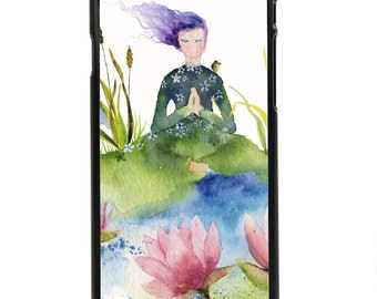 "Phone Case ""Lotus"" - Watercolor Art Print Woman Meditation Water Flower Energy Peaceful Heron Lotus Flower By Olga Cuttell"