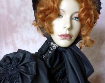 ATELIER COCON Schute hood hat  Victorian Biedermeier Western Gothic WGT ruffle silk taffeta