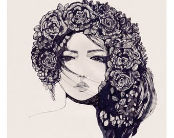 Vintage Rose III // Giclée print from an original pencil and ink illustration by Holly Sharpe
