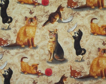 Cats at Play Print Pure Cotton Fabric from Timeless Treasures--One Yard