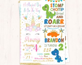 Unicorn and Dinosaur Invitation, Twins Birthday Invitation, Boy and Girl Invitation